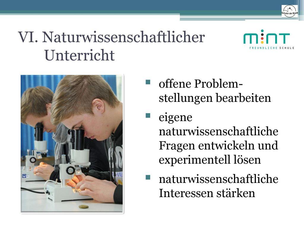 VI. Naturwissenschaftlicher Unterricht