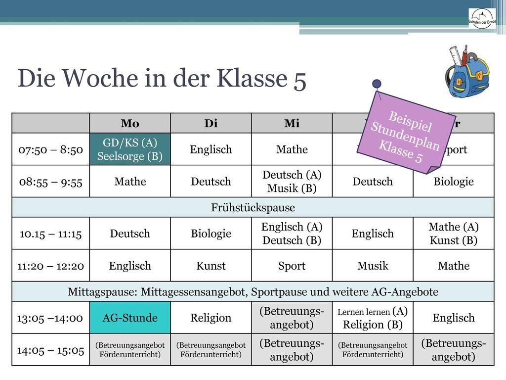 Die Woche in der Klasse 5 Beispiel Stundenplan Klasse 5 Mo Di Mi Do Fr