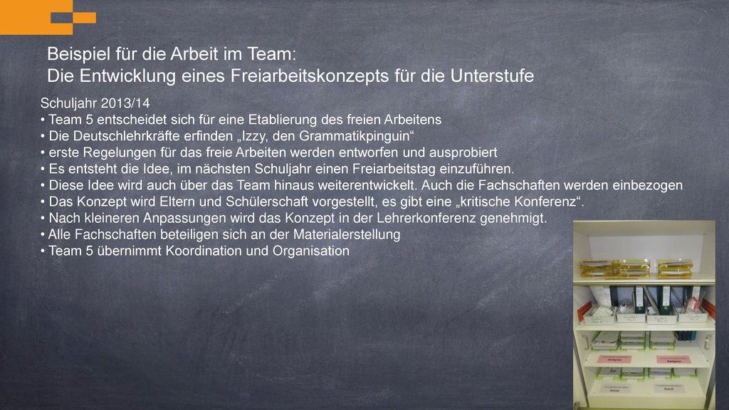 Beispiel für die Arbeit im Team: