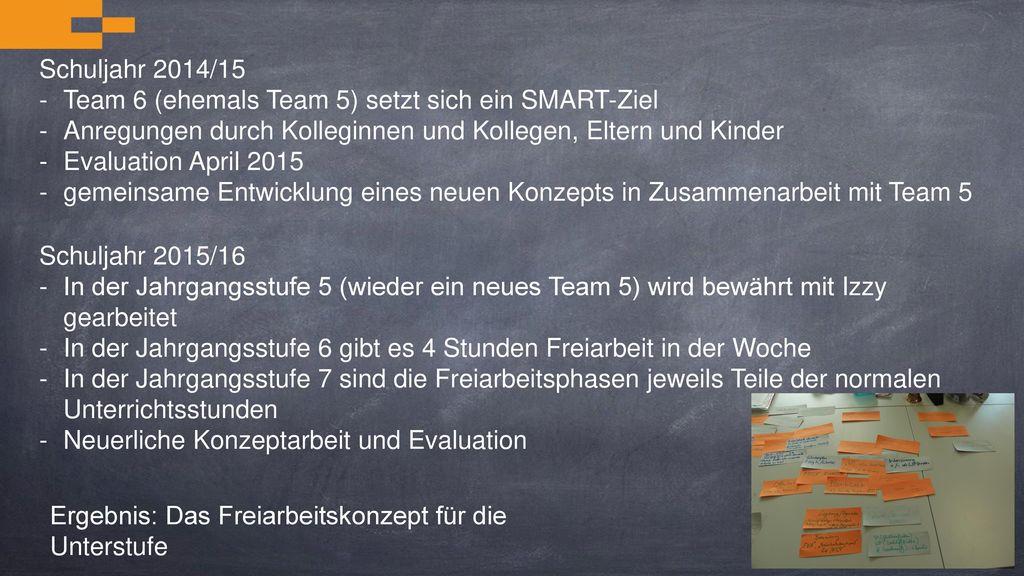Team 6 (ehemals Team 5) setzt sich ein SMART-Ziel
