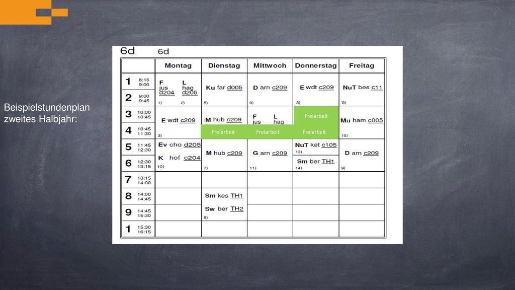 Beispielstundenplan zweites Halbjahr: Freiarbeit Freiarbeit Freiarbeit