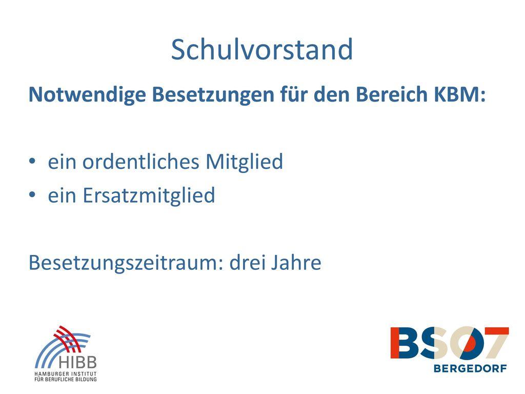 Schulvorstand Notwendige Besetzungen für den Bereich KBM: