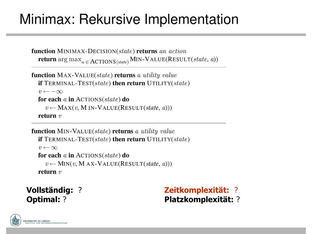 Minimax: Rekursive Implementation