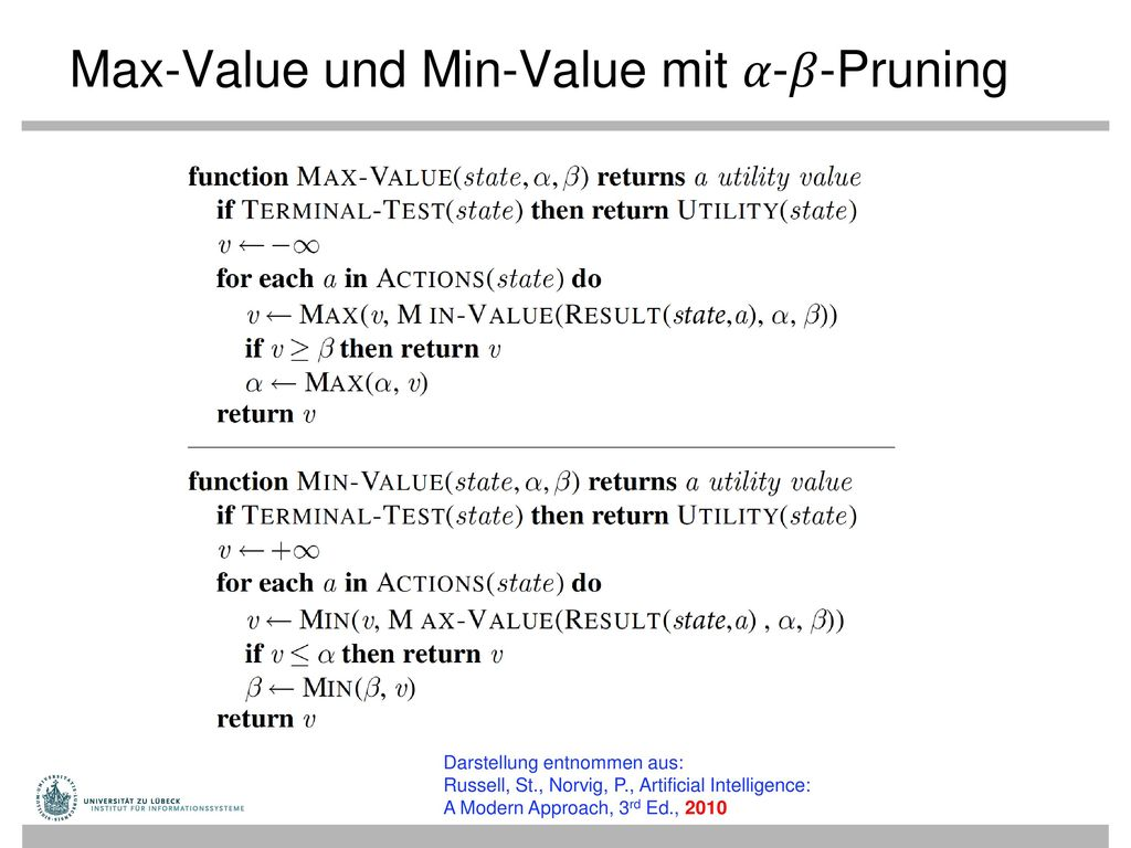 Max-Value und Min-Value mit 𝛼-𝛽-Pruning