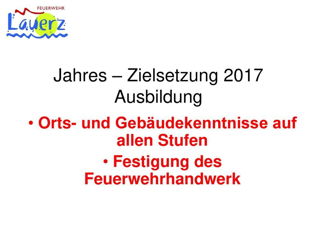 Jahres – Zielsetzung 2017 Ausbildung