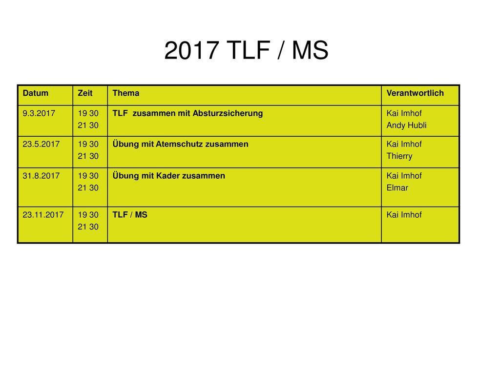 2017 TLF / MS Datum Zeit Thema Verantwortlich 9.3.2017 19 30 21 30