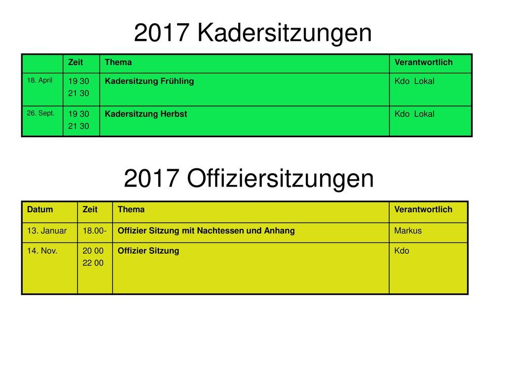 2017 Kadersitzungen 2017 Offiziersitzungen Zeit Thema Verantwortlich