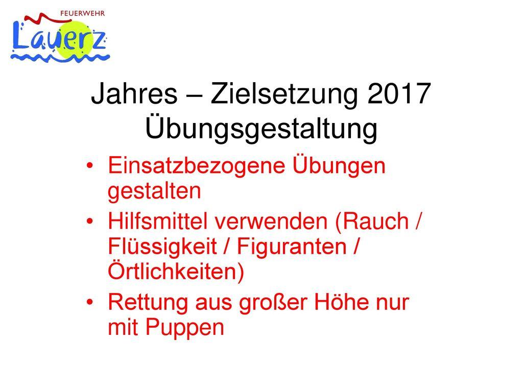 Jahres – Zielsetzung 2017 Übungsgestaltung