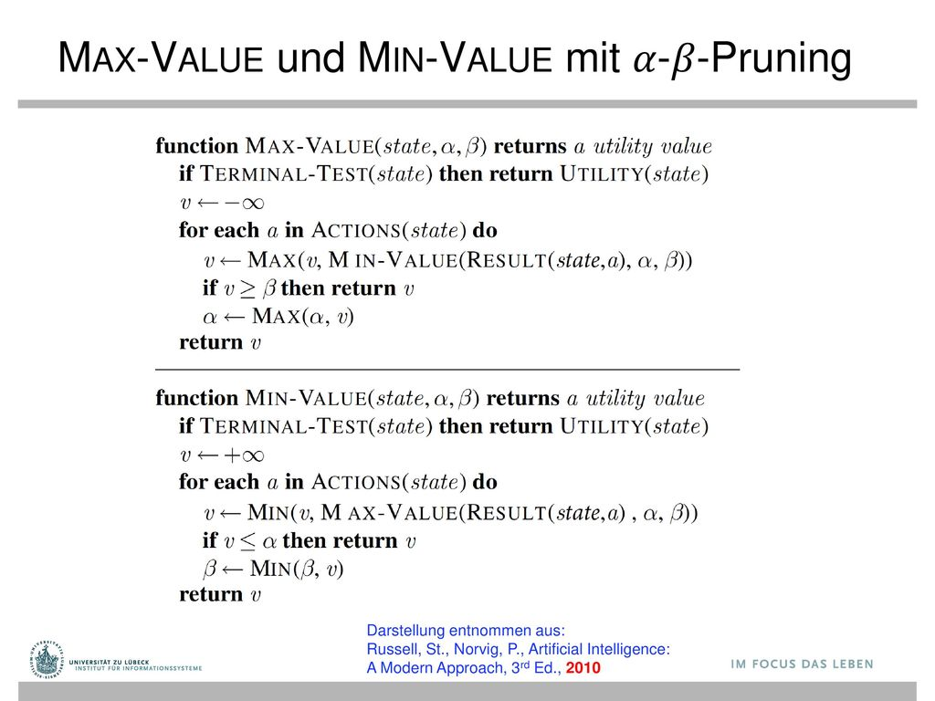 Max-Value und Min-Value mit 𝛼-𝛽-Pruning