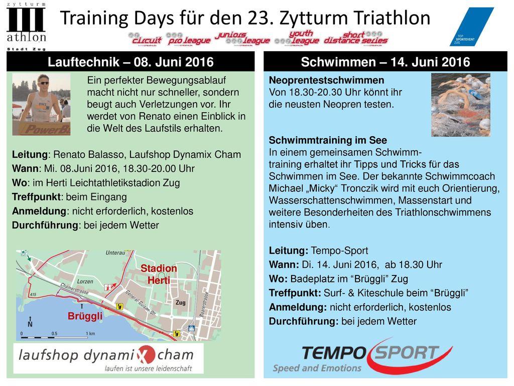 Training Days für den 23. Zytturm Triathlon