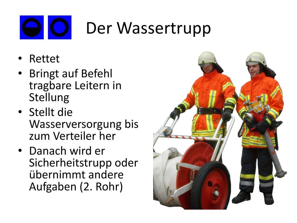 Der Wassertrupp Rettet Bringt auf Befehl tragbare Leitern in Stellung