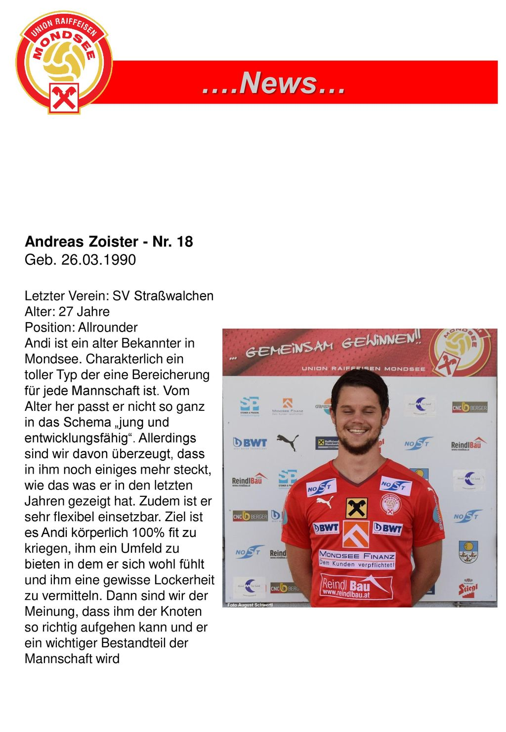 vs. ….News… Andreas Zoister - Nr. 18 Geb