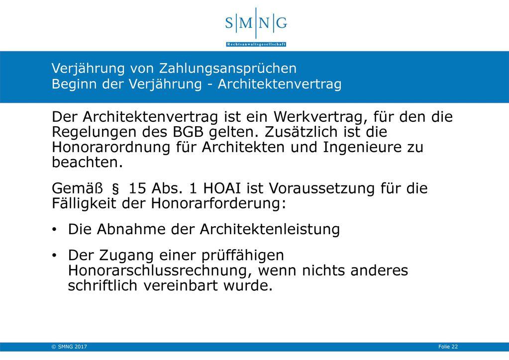 Die Abnahme der Architektenleistung