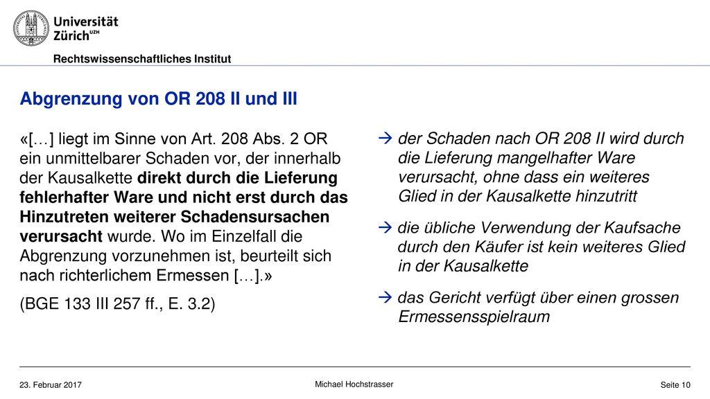 Abgrenzung von OR 208 II und III