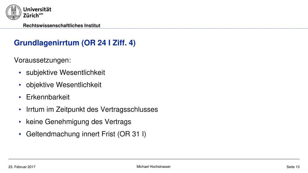 Grundlagenirrtum (OR 24 I Ziff. 4)