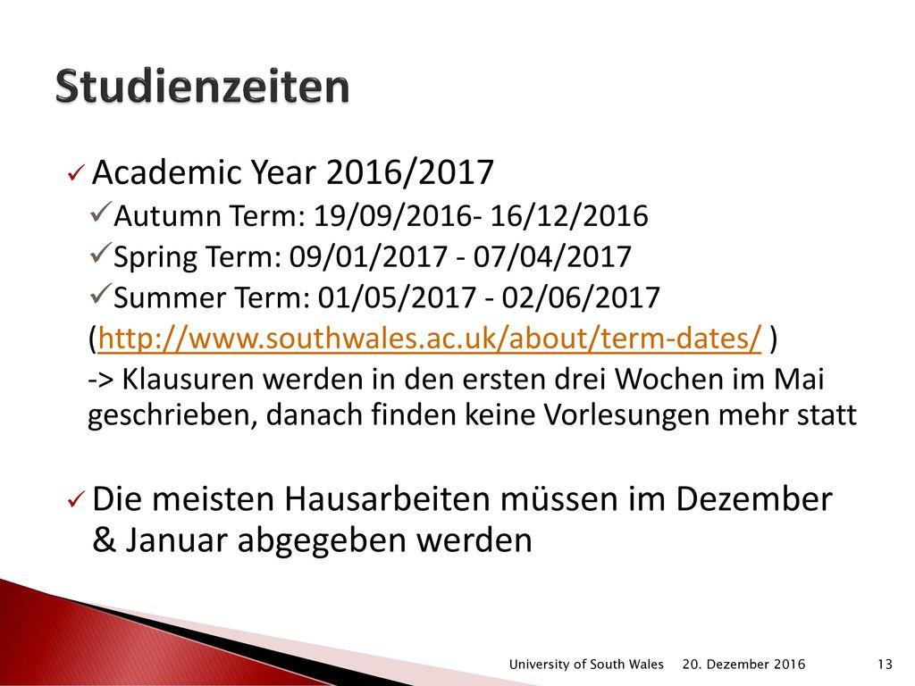Studienzeiten Academic Year 2016/2017