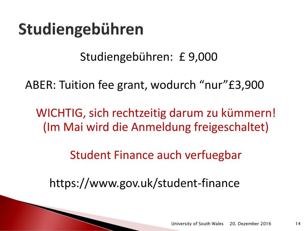 Studiengebühren Studiengebühren: £ 9,000