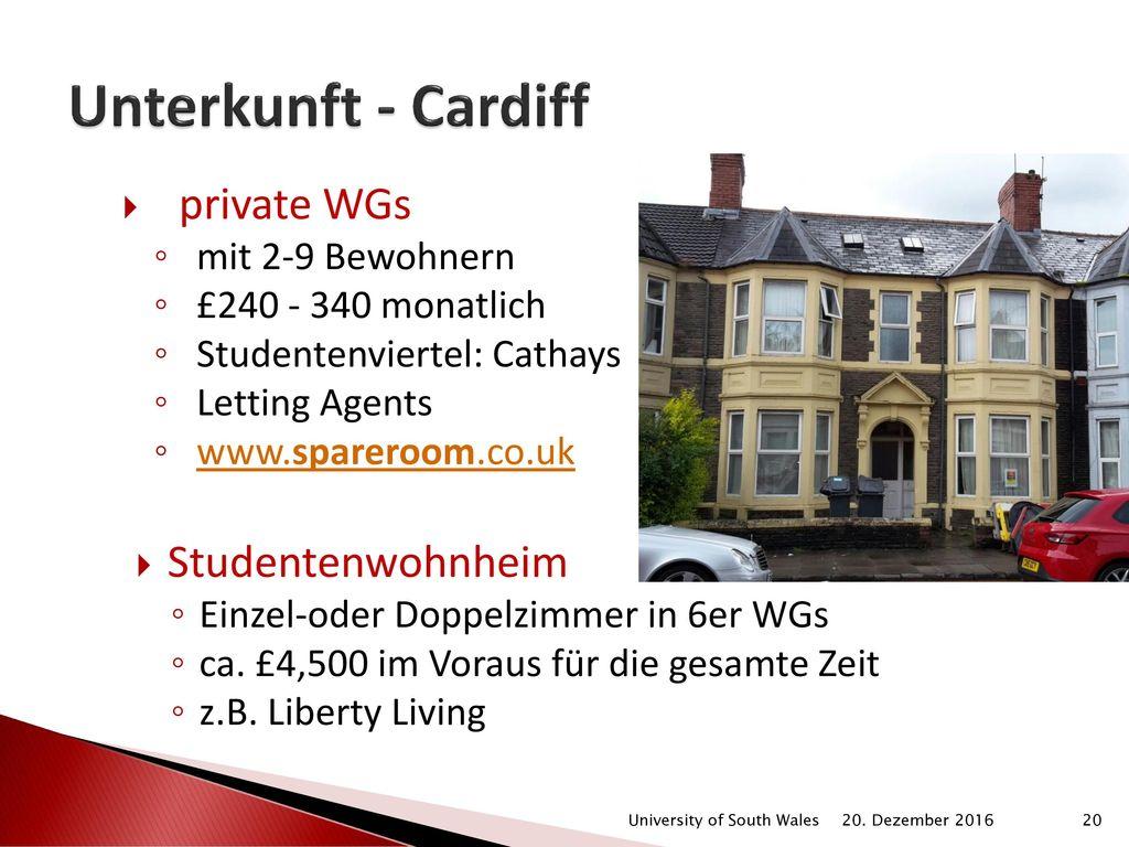 Unterkunft - Cardiff private WGs Studentenwohnheim mit 2-9 Bewohnern