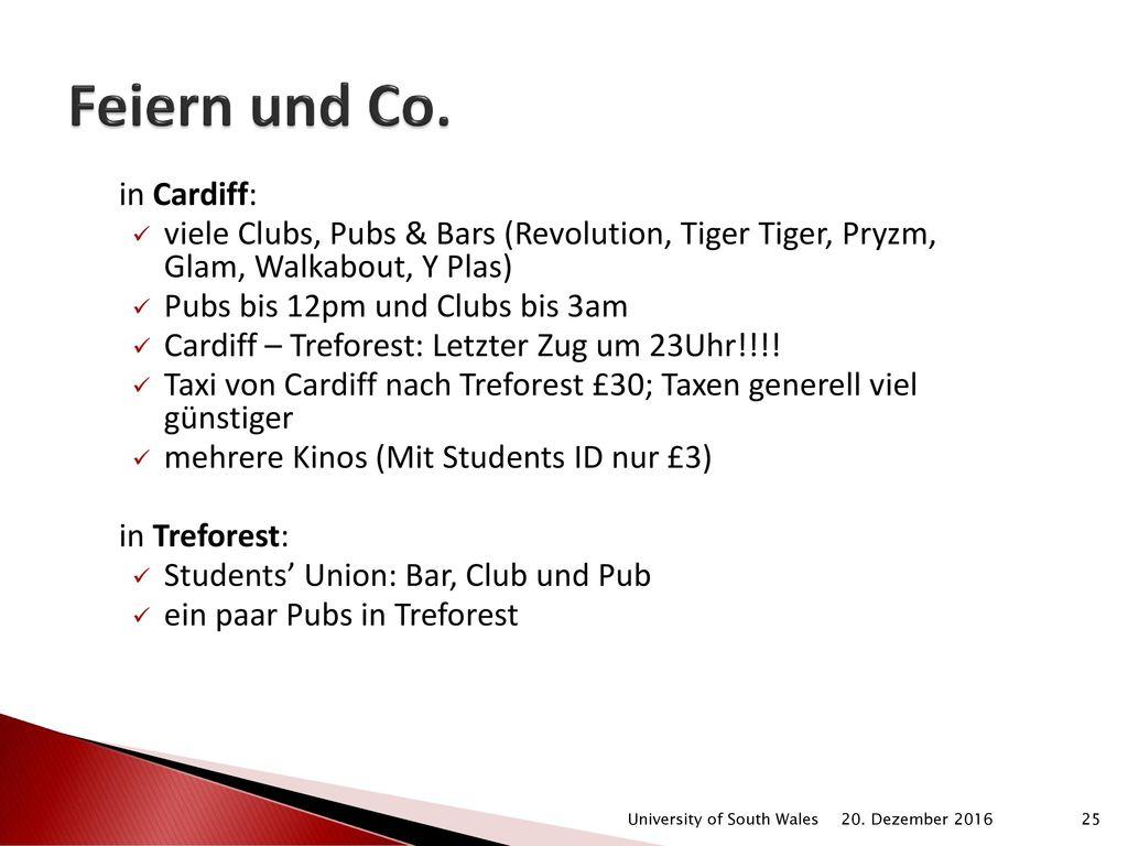 Feiern und Co. in Cardiff: