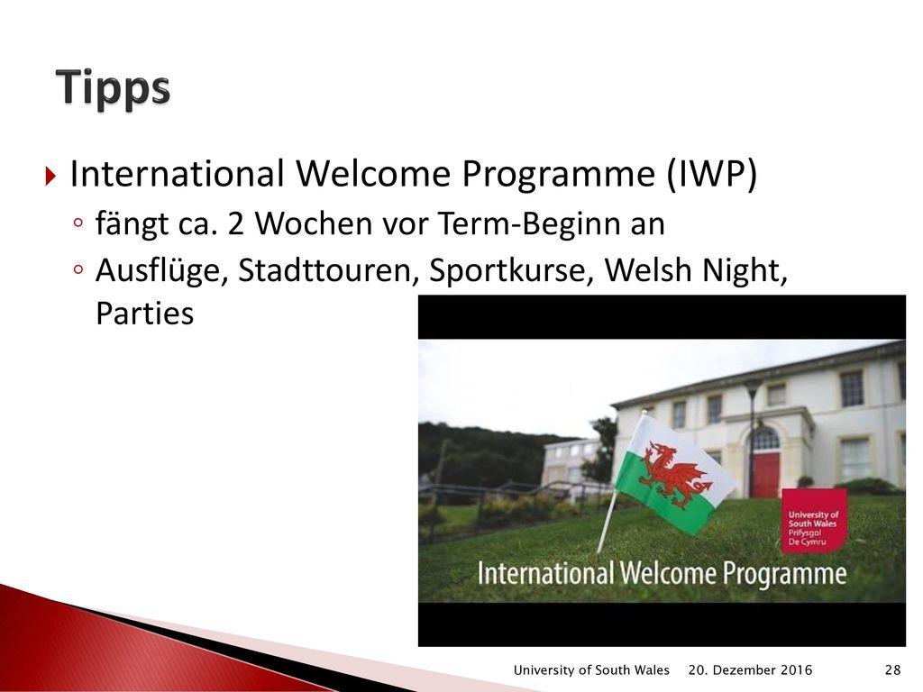 Tipps International Welcome Programme (IWP)