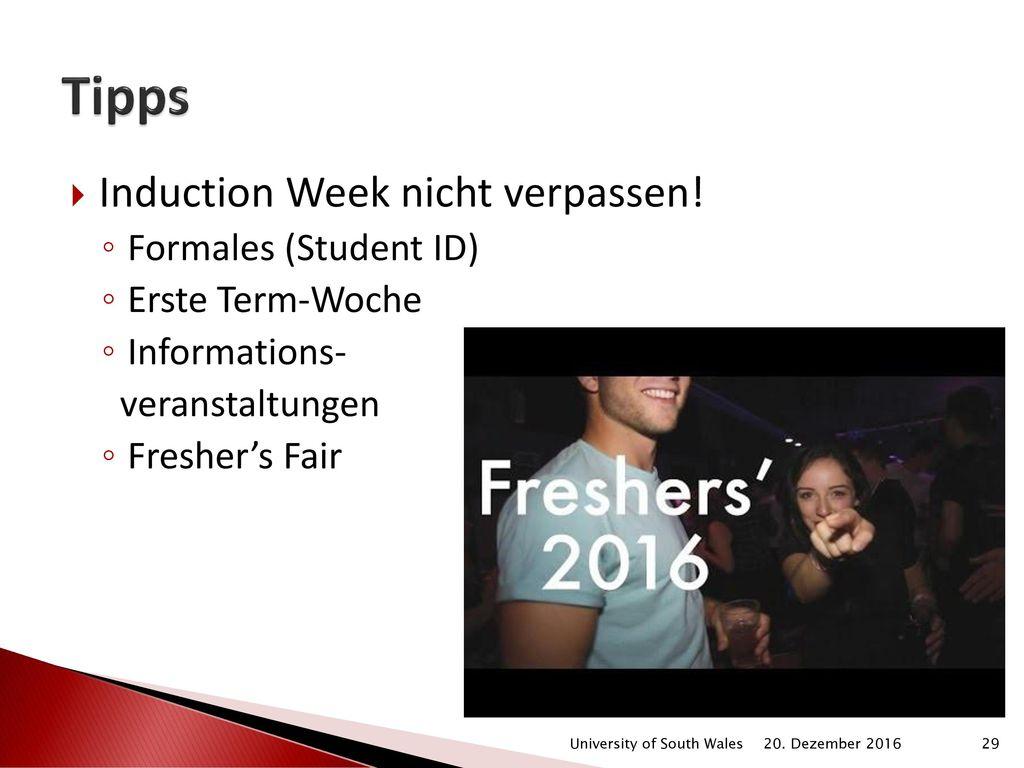 Tipps Induction Week nicht verpassen! Formales (Student ID)