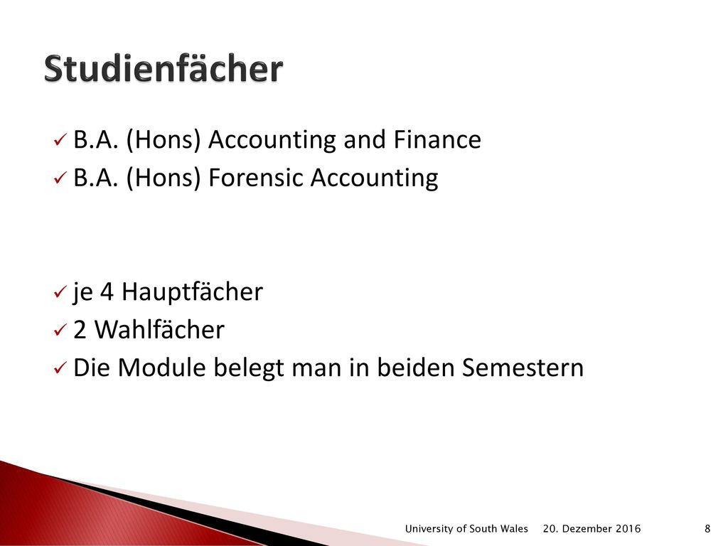Studienfächer B.A. (Hons) Accounting and Finance