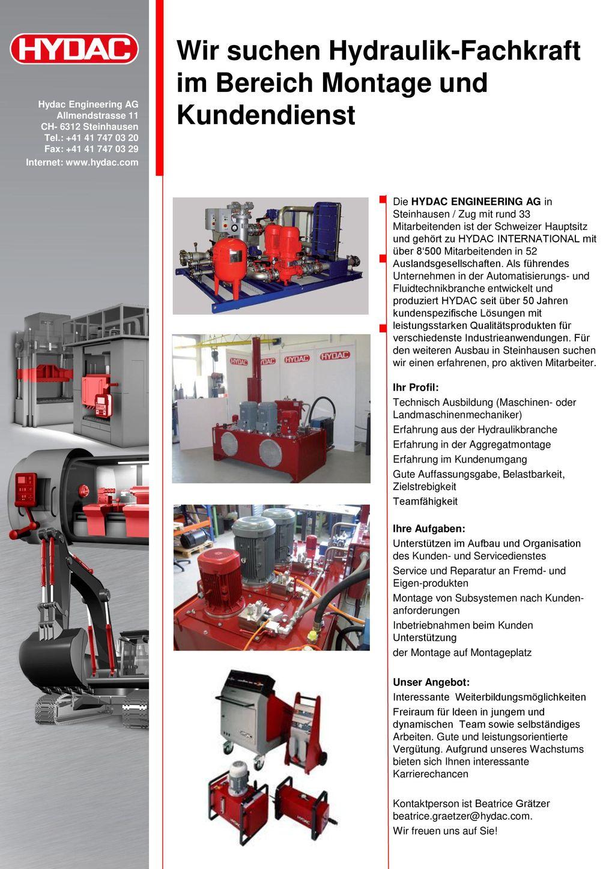 Wir suchen Hydraulik-Fachkraft im Bereich Montage und Kundendienst