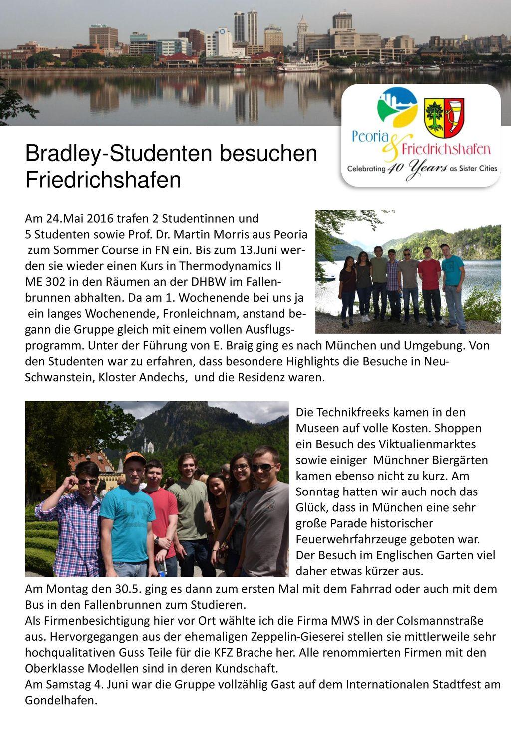 Bradley-Studenten besuchen Friedrichshafen