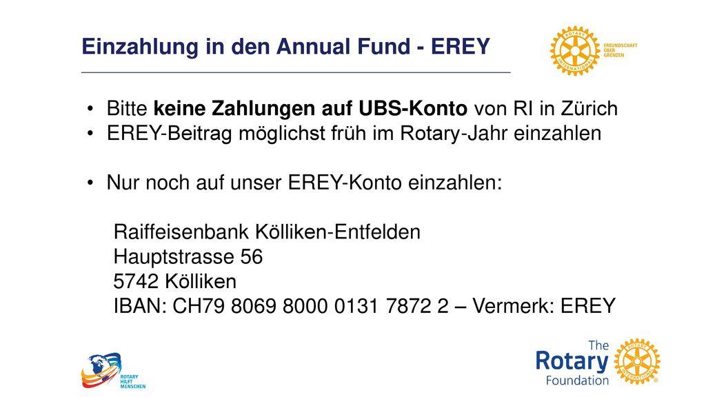 Einzahlung in den Annual Fund - EREY