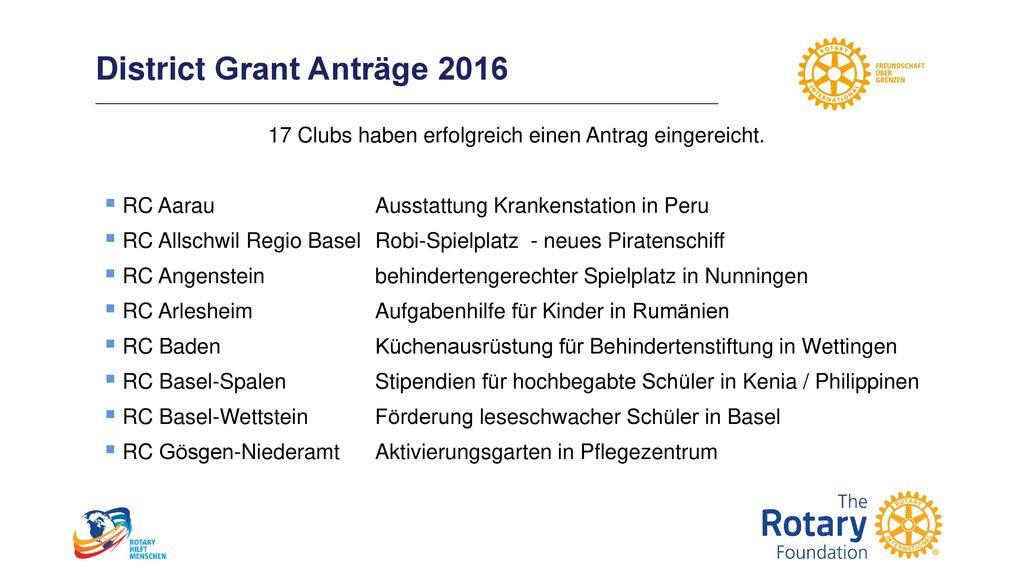 District Grant Anträge 2016