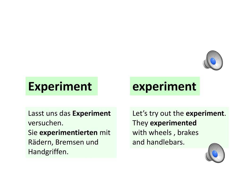 Experiment experiment Lasst uns das Experiment versuchen.