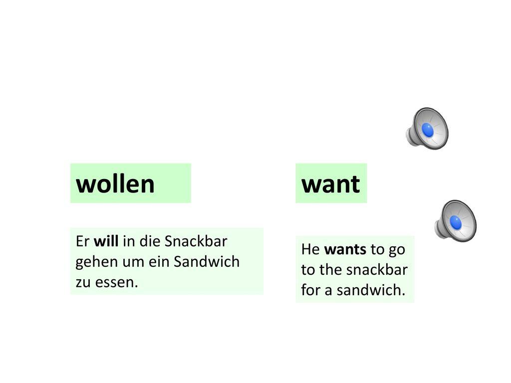 wollen want Er will in die Snackbar gehen um ein Sandwich zu essen.