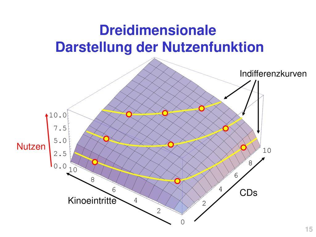 Dreidimensionale Darstellung der Nutzenfunktion