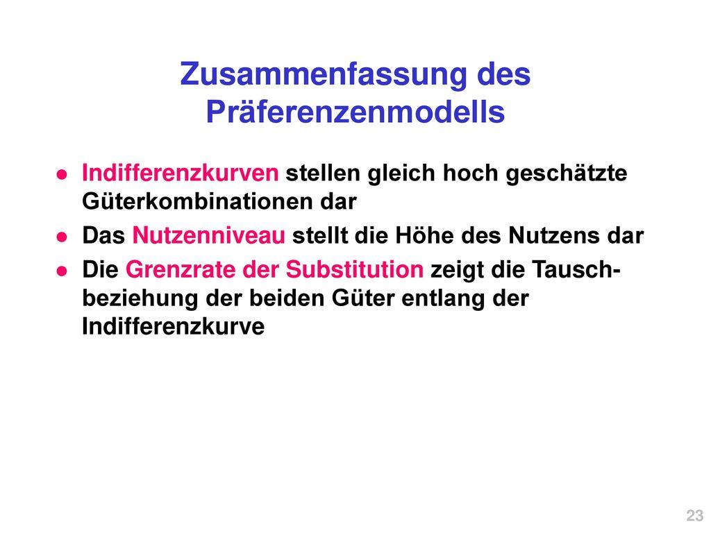Zusammenfassung des Präferenzenmodells