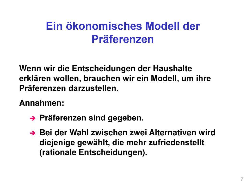 Ein ökonomisches Modell der Präferenzen