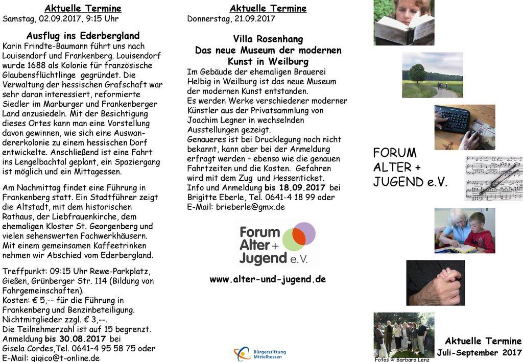 FORUM ALTER + JUGEND e.V. Aktuelle Termine Ausflug ins Ederbergland