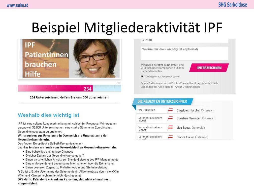 Beispiel Mitgliederaktivität IPF