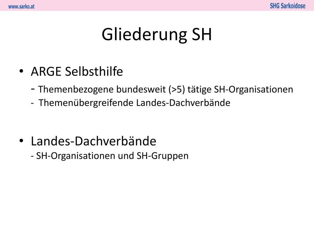 Gliederung SH ARGE Selbsthilfe - Themenbezogene bundesweit (>5) tätige SH-Organisationen - Themenübergreifende Landes-Dachverbände.