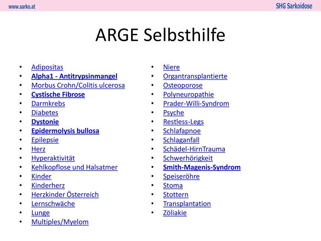 ARGE Selbsthilfe Adipositas Alpha1 - Antitrypsinmangel