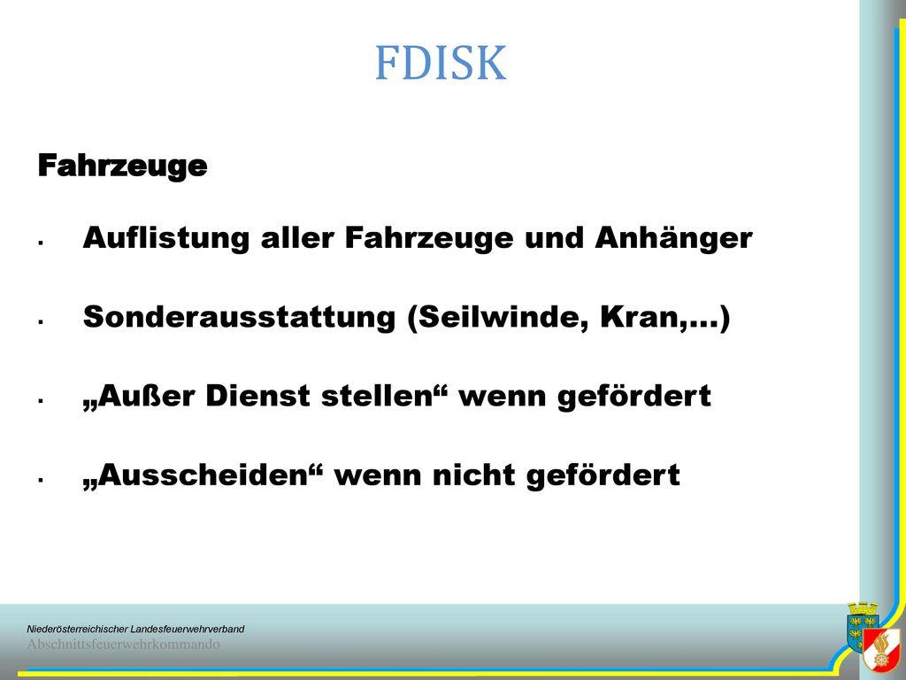 FDISK Fahrzeuge Auflistung aller Fahrzeuge und Anhänger