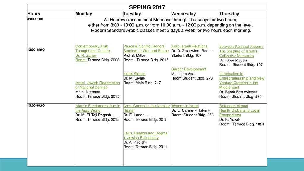 SPRING 2017 Hours Monday Tuesday Wednesday Thursday