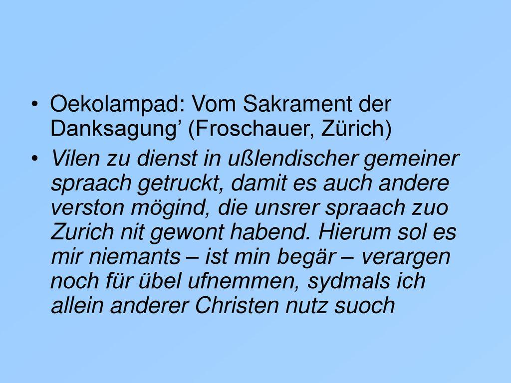 Oekolampad: Vom Sakrament der Danksagung' (Froschauer, Zürich)