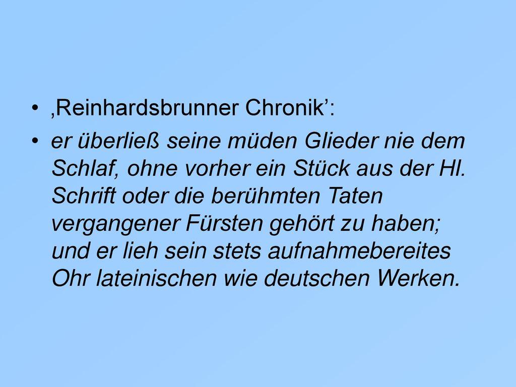 'Reinhardsbrunner Chronik':
