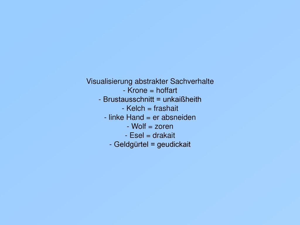Visualisierung abstrakter Sachverhalte - Krone = hoffart