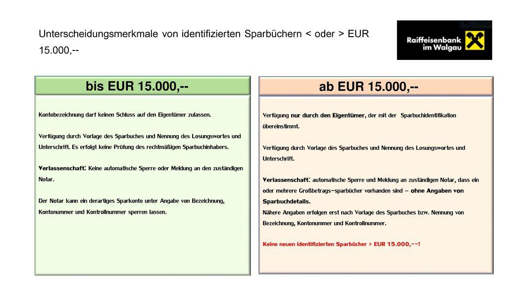 Unterscheidungsmerkmale von identifizierten Sparbüchern < oder > EUR 15.000,--
