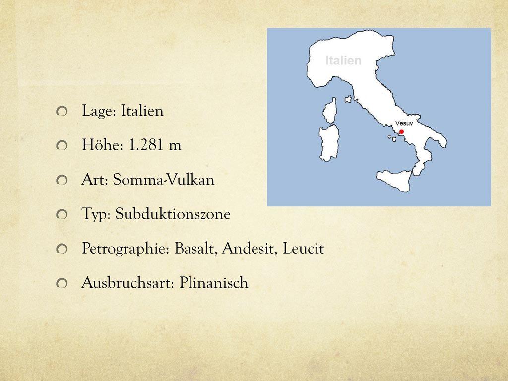 Lage: Italien Höhe: 1.281 m. Art: Somma-Vulkan. Typ: Subduktionszone. Petrographie: Basalt, Andesit, Leucit.