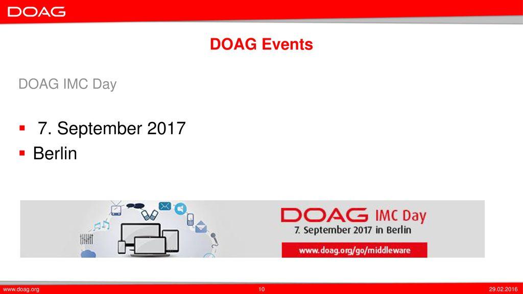 7. September 2017 Berlin DOAG Events DOAG IMC Day www.doag.org
