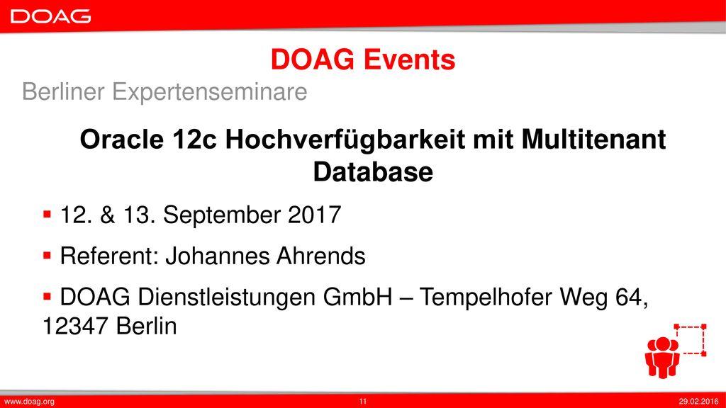Oracle 12c Hochverfügbarkeit mit Multitenant Database