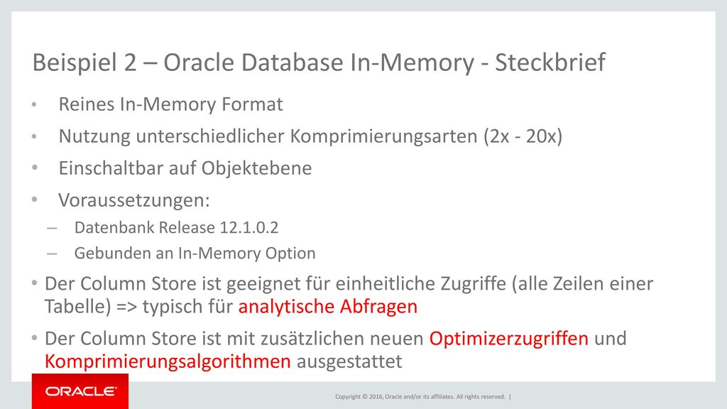 Beispiel 2 – Oracle Database In-Memory - Steckbrief