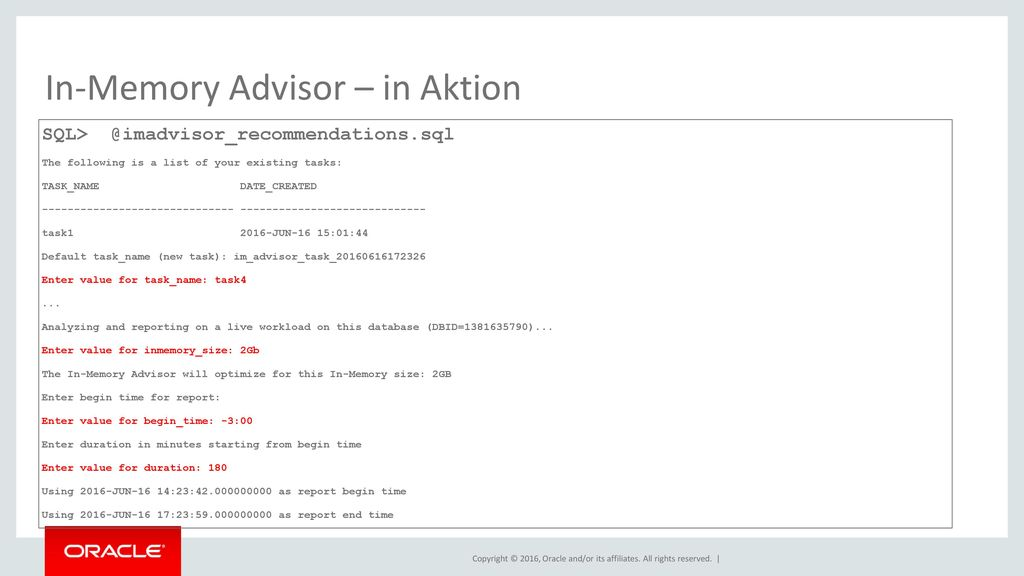 In-Memory Advisor – in Aktion